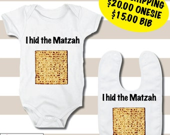 "FREE SHIPPING ""I Hid The Matzah"", Onesie and Bibs"