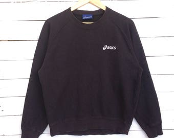 Rare !! Vintage 90s Asics Sweatshirt Crewneck Small Logo Streetswear Black Colour Medium Size #A5