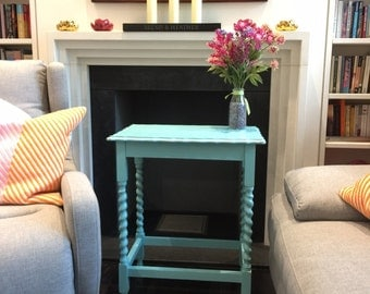 SALE!! Lovely teal painted wooden occasional table with twisted legs and scalloped edges