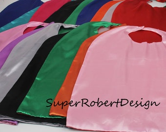 Party Pack 10 capes - REVERSIBLE Solid Two Colored Satin Superhero Cape- child cape, party favor, Satin solid capes, boys girls capes