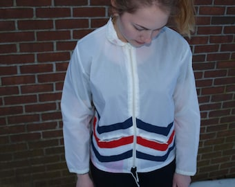 Vintage 80s Red White and Blue Windbreaker Rain Jacket