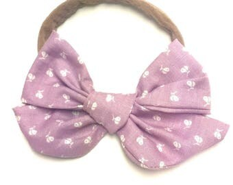 Vintage Fabric Lilac Handtied Janie Bow