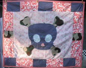 Skull C Baby Quilt / Baby Shower / Unique Gift / Edgy Present / Expecting a Baby / Blanket / Sugar Skull Bones / Skull Bedding /Cool Pattern