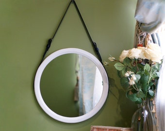 "White Round Mirror ""Astypalea"" / Strap Wall Mirror / Wall Hanging Mirror / Leather Mirror / Loft Style Belt Mirror / Unique Vanity Mirror"