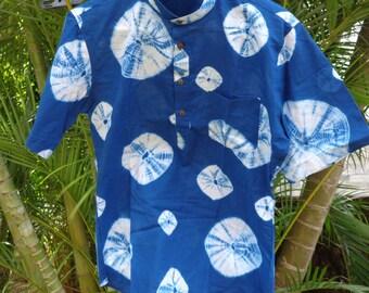 limited edition mens indigo shibori shirt.   Classic popover style, 3 button placket, mandarin collar.