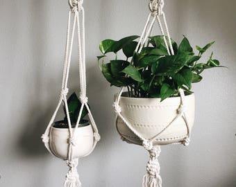 Macrame Plant Hanger // White Plant Hanger