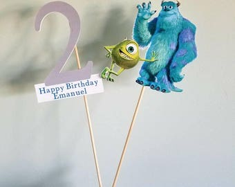 Monsters inc cake topper with custom name and age topper. Mike and sully cake topper.