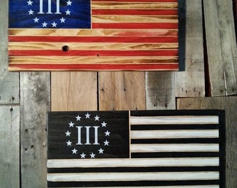Handcrafted 3 per-centers American Revolution flag wall art