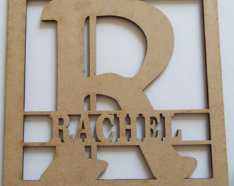 Personalised Initial and Name MDF Shape, Any Name and Initial Available