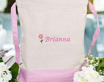 Personalized Embroidered Flower Girl Backpack Custom Name Gift