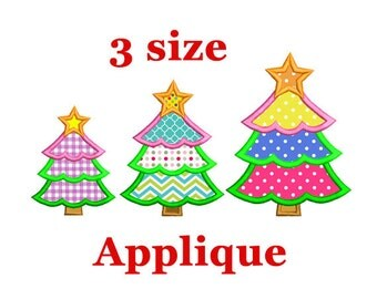 Christmas tree Applique Embroidery design. Christmas applique Embroidery. Christmas embroidery. Christmas design. Holiday embroidery.