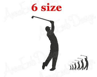 Golfer Embroidery Design. Golfer silhouette. Mini Golfer Design. Mini Golf Embroidery Designs. Machine Embroidery Design
