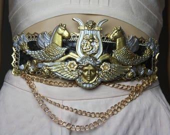 Baroque Medieval Medusa Horses Massive Wide Waist Belt