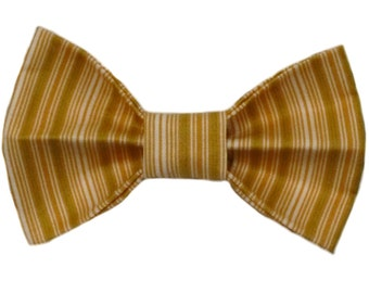 Shades of Yellow Vertical Stripes Dog Bow Tie