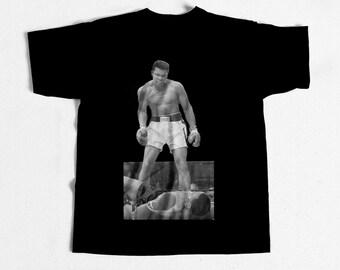 Muhammad Ali Vs Liston Vintage Boxing T-shirt Classic Black Tee New