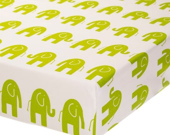 Fully Elastic Fitted Crib Sheet Green Elephant