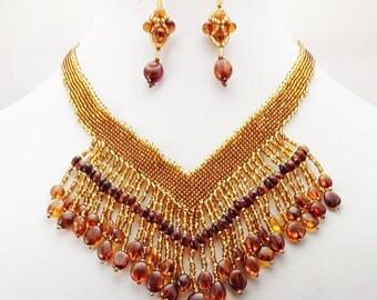 Tarasova Designer Baltic Amber Necklace and Earring Set