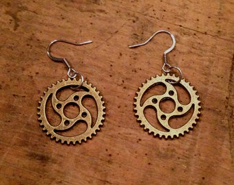 Steampunk Bronze Gears Metal Ear Rings