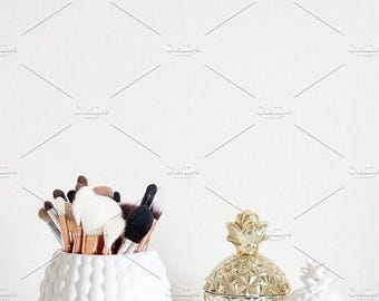 Styled Stock Photo | Makeup Brushes & Pineapples (Tall) | Blog stock photo, stock image, stock photography, blog photography