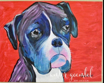 Custom Pet Portrait, Pop Art, Animal Art, Dog, Cat, Acrylic Painting, Canvas
