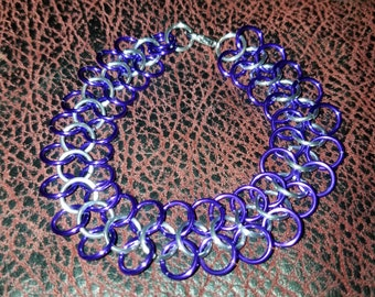 Purple and silver chainmail jewelry bracelet. 4 in 1 european weave.