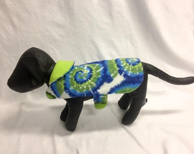 Blue and Green Tie Dye Print Dog Coat 3031