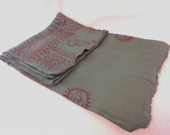 Green Color OM Prayer Cotton Meditation and Yoga Shawl