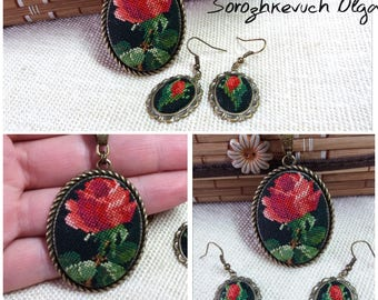 Embroidered pendant and earrings.  Embroidered floral set.  Floral embroidery. Cross stitch roses.  Red roses. Embroidered gift. Gift