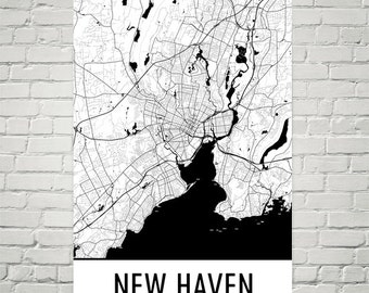 New Haven Map, New Haven Art, New Haven Print, New Haven CT Poster, New Haven Wall Art, New Haven Gift, Map of New Haven, New Haven Decor