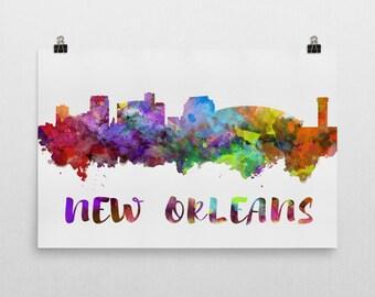 New Orleans Skyline New Orleans Skyline Canvas, New Orleans Skyline Art, New Orleans Watercolor Skyline, Skyline of New Orleans, Art