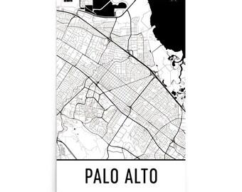 Palo Alto Map, Palo Alto Art, Palo Alto Print, Palo Alto CA Poster, Palo Alto Wall Art, Map of Palo Alto, Palo Alto Gift, Palo Alto Decor