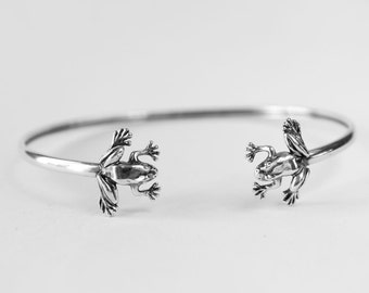 Frog Bangle Bracelet Heads Sterling Silver Cuff Gift for Her Frog lover