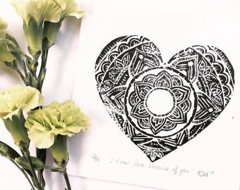 Mother's Day card, art print, linocut print, Mother's Day gift, loveheart, mandala, gift card