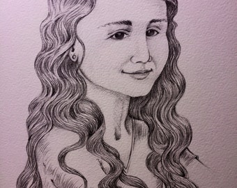 Bespoke Custom Children Portrait Pencil Illustration - Original Graphite Drawing