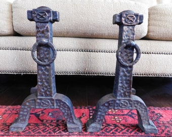 Pair of Vintage Hammered Brass and Cast Iron Arts & Crafts Andirons