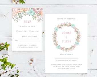 Printable Wedding Invitation/ RSVP/ Save the date/ Thankyou card/ PDF/ Download/ Custom/ Floral / Pastel/ Nadine suite #055