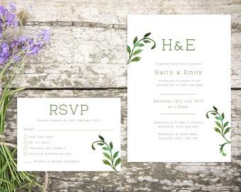Printable Wedding Invitation/ RSVP/ Save the date/ Thankyou card/ PDF/ Download/ Custom/ Botanical/ Floral/ Emily suite #003