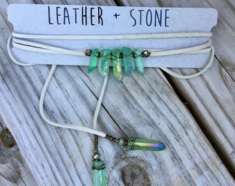 Leather Wrap Choker Necklace - green