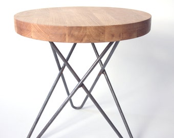 Side table made from solid steel and Oak