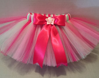 PINK TUTU, Baby Tutu, Fucshia, Mint and Pink Tutu, Infant Tutu, Tutu for Babies, Newborn Tutu, Tutu and Hairbow, Birthday Tutu