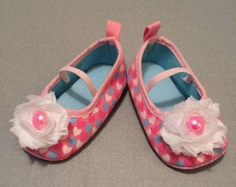 INFANT CRIB SHOES, Baby Shoes, Crib Shoes , Heart Crib Shoes, Pink Baby Shoes, Pink Baby Booties, Infant Crib Shoes, Baby Walking Shoes