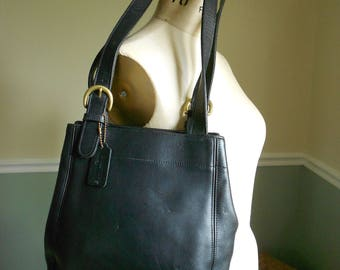 Coach Leather Buckle Bag / Black Coach Bag