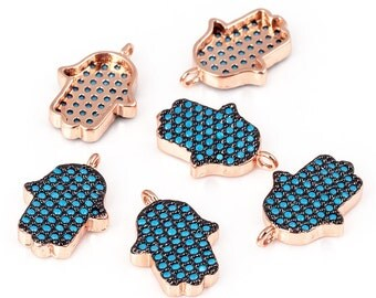 Turquoise Hamsa Hand charm micro paved  ,CZ/Micro pave bead/Cubic Zirconia CZ  ,15mm 1pc