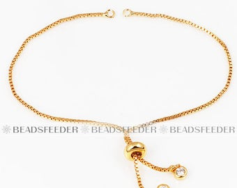 Half finshed bracelet ,Box chain, with slider rubber stopper beads , for connector link findings, Gold plated, 1pc