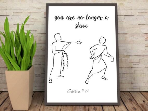 So you are no longer a Slave, But God's Child, Galatians 4_ Scripture Wall Art, Bible Verse Art, Scripture Art, Bible Verse Wall Art,