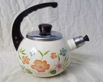 Vintage Ceramic with Metal and Plastic Teapot with Flowers