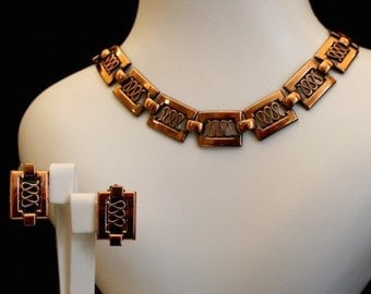 Renoir 1950s Copper Snake Vintage Jewellery Set