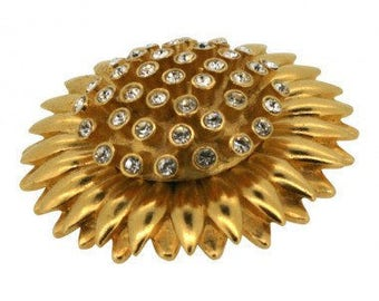 Carolee 1960s Gold Tone Sunflower Diamante Vintage Brooch