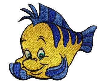 Ariel flounder patch iron on fish disney embroidery embroidered mermaid patch iron on Disney patches clothing sew on patches