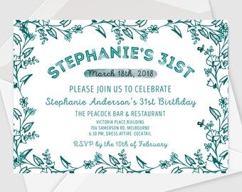 Blue Floral Save the Date, Birthday Card  or Wedding Invitation Announcement